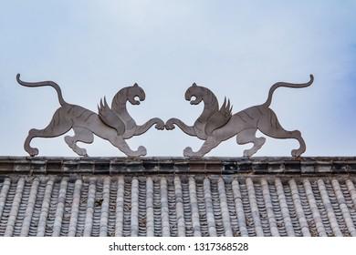 Saber toothed tiger statue at Rucheng Ruins, Fuyang City, Henan Province