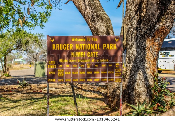 Sabie , South Africa - Sep 16 2018: Sign board showing entrance gate of Kruger national park , Numbi gate