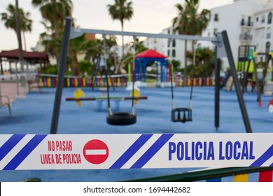 SABINILLAS, MALAGA, SPAIN - MARCH 14, 2020: State of Emergency declared by Spanish government and all children's play areas and parks closed by police during the Coronavirus (COVID-19) outbreak.