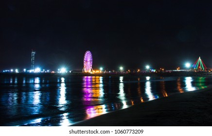 Sablette Park at night in the Capital city Algiers , Algeria - january 01, 2018