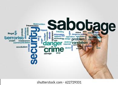 Sabotage word cloud concept on grey background