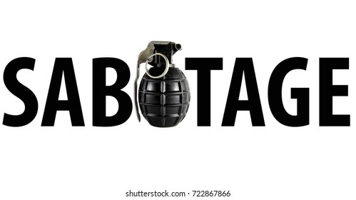 Sabotage word with real hand grenade on white  background. Concept photo