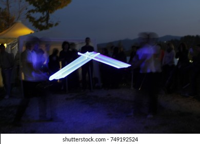 sabre fight light painting