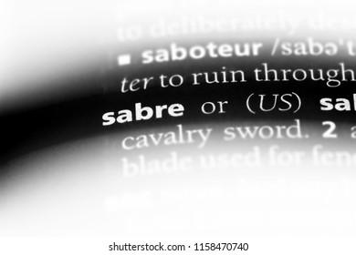 sabre word in a dictionary. sabre concept.