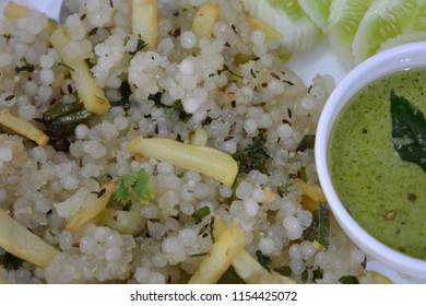 Sabudana Khichdi a traditional dish from Maharashtra served with green Chutney.