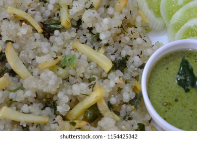 Sabudana Khichdi a traditional dish from Maharashtra served with green Chutney.