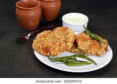 Sabudana Vada, Chutney and fried green chilli , A maharashtrian food or Indian regional food