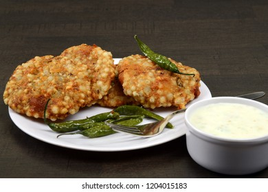 Sabudana Vada, Chutney and fried green chilli, A maharashtrian food or Indian regional food