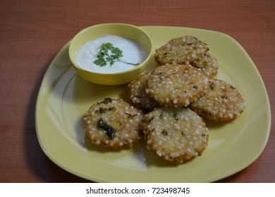 Sabudana Vada with chutney on a plate top view / Sago cutlets.