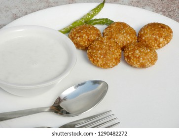 sabudana vada with green chilli and cared