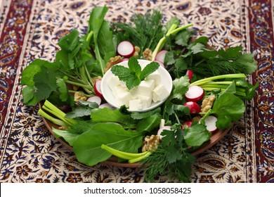 sabzi khordan, assortment of fresh herbs and raw vegetables salad, iranian cuisine