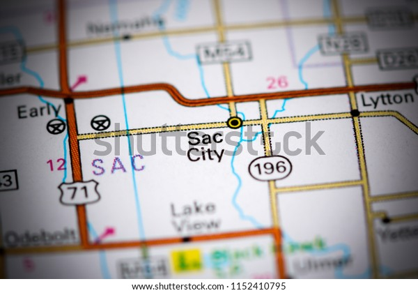 Sac City. Iowa. USA on a map
