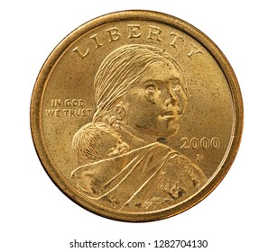 Sacagawea one dollar US coin isolated on white