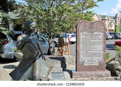 Sacagawea Statue Next to Ten Commandments