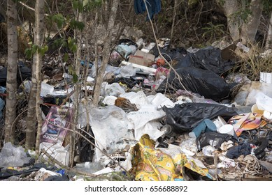 SACALUM, MEXICO - JANUARY 27,2017: Garbage dump at main road entry to Sacalum, Mexico January 27 2017