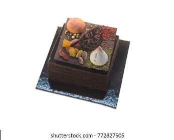 Sacher chocolate cake isolated on white