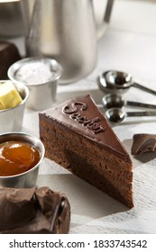 Sacher torte chocolate cake slice, multilayered