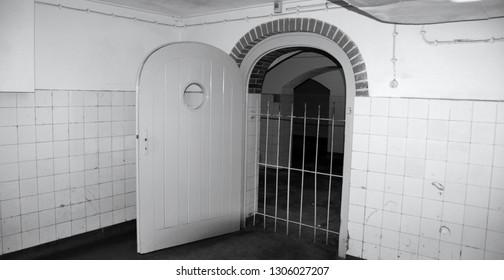 SACHSENHAUSEN ORANIENBURG, GERMANY 05 21 10: Morgue at Sachsenhausen Concentration Camp . About 200,000 people passed through Sachsenhausen between 1933 & 45