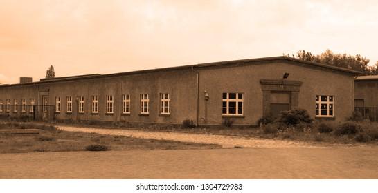SACHSENHAUSEN ORANIENBURG, GERMANY MAY 21 2010: Jewish barracks and museum in Sachsenhausen nazi camp. About 200,000 people passed through Sachsenhausen between 1936 and 1945.