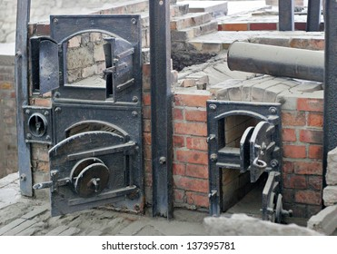 SACHSENHAUSEN-ORANIENBURG, GERMANY - AUGUST 21, 2010: Ruins of Sachsenhausen nazi cremation ovens. About 100,000 people were executed here between 1936 and 1945.