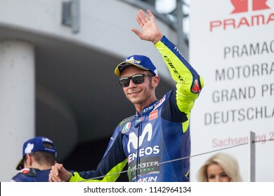 SACHSENRING; GERMANY - JULY 15, 2018: Italian Yamaha rider Valentino Rossi at 2018 Pramac MotoGP of Germany.