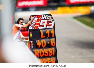 SACHSENRING; GERMANY - JULY 15, 2018: Mecanics at pit wall at 2018 Pramac MotoGP of Germany.