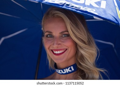 SACHSENRING - GERMANY, JULY 15: Beautiful grid girl at 2018 PRAMAC MotoGP of Germany at Sachsenring circuit on July 15 of 2018