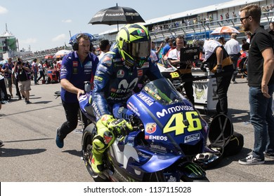 SACHSENRING - GERMANY, JULY 15: Italian Yamaha rider Valentino Rossi at 2018 PRAMAC MotoGP of Germany at Sachsenring circuit on July 15 of 2018
