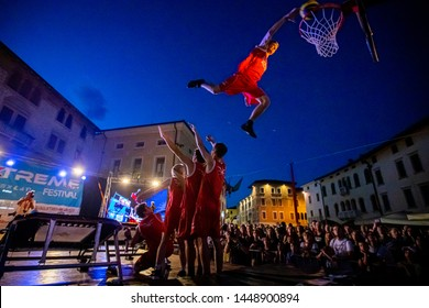 Sacile/Pordennone - 07-05-2019:  High trampoline dunk on Xtreme Days Festival 2019, extreme, freestyle sport event