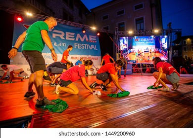 Sacile/Pordennone - 07-05-2019:  organization staff clean the stage after strong rain at Xtreme Days Festival 2019, extreme, freestyle sport event