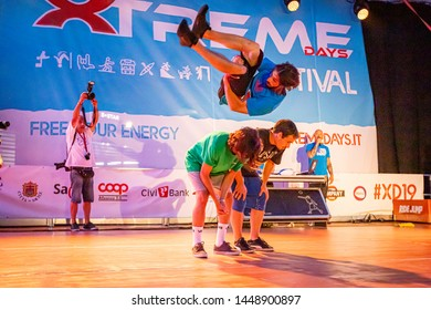 Sacile/Pordennone - 07-05-2019: Parkour Free Running show at Xtreme Days Festival 2019, extreme, freestyle sport event