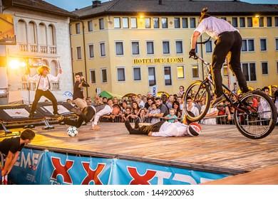 Sacile/Pordennone - 07-05-2019: Trial Bike, basket, hip hop at Xtreme Days Festival 2019, extreme, freestyle sport event