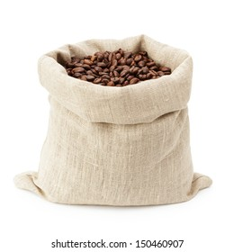 sack bag full of roasted coffee beans, isolated on white