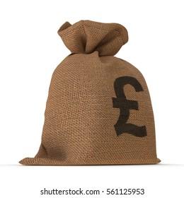 A sack bag of Pounds on white. 3D illustration