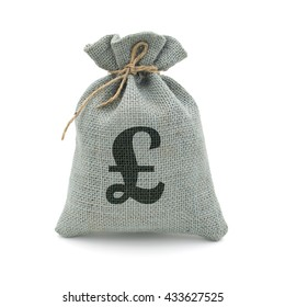A sack bag of Pounds with path. (GBP : Pound)