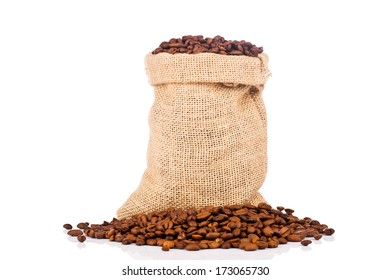 The sack of coffee beans on white background