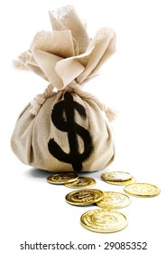 Sack with dollar sign and us coins isolated over white