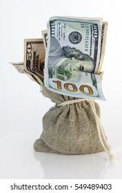 Sack full of cash money. Vertical.