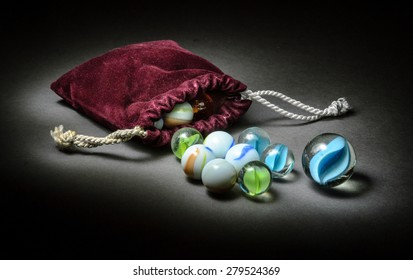 Sack of glass marbles