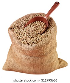 SACK OF GREEN LENTILS CUT OUT