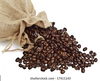 sack from linen with spilled coffee grain