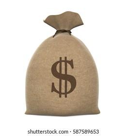 Sack Money Dollar. 3D rendering