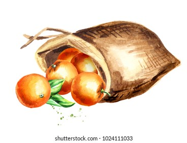Sack of oranges. Watercolor hand drawn illustration, isolated on white background