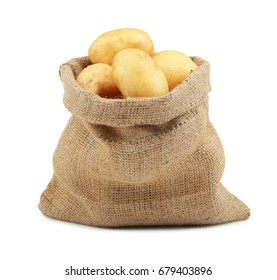 Sack with potatoes on white background
