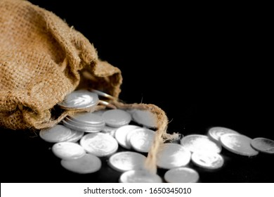 sack with the thirty silver coins biblical symbol of the betrayal of judas