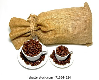Sack and two cups with fresh coffee