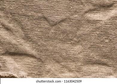 Sackcloth background wrinkled surface.