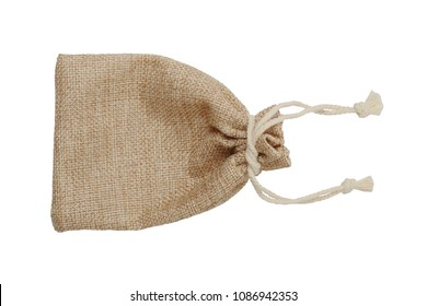 Sackcloth bag isolated on white background, clipping path.