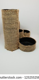 sackcloth cover pen holder support handmade studio isolates closeup