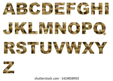 sackcloth font english alphabet. Letter from A to Z from a sackcloth isolated on a white background.  Letters of the alphabet - Burlap Background Texture.